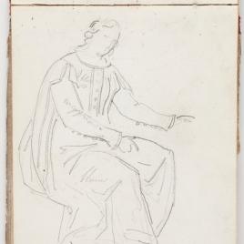 Estudio de vestimenta de una dama medieval sentada