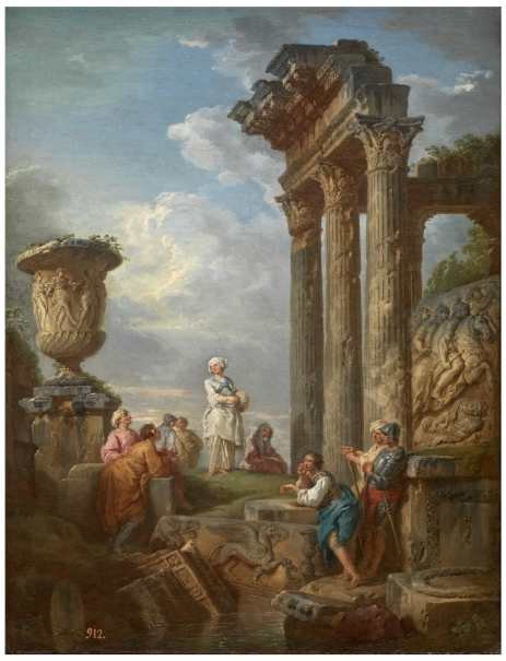 Ruins with a Woman preaching (a Sibyl?)