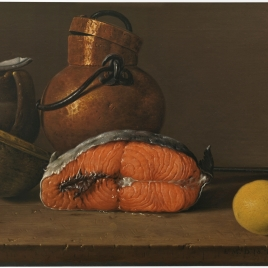 Still Life with Salmon, Lemon and three Vessels