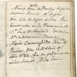 Registro del nacimiento y bautismo de dos hijos de Goya