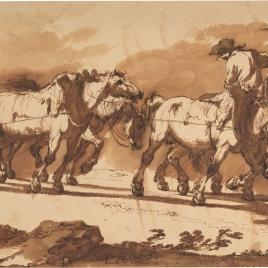 Arriero con recua de caballos