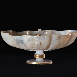 Low gadrooned chalcedony tazza