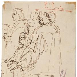 Grupo de personajes del siglo XVI / Apunte de composición histórica (Muerte de Lucrecia)