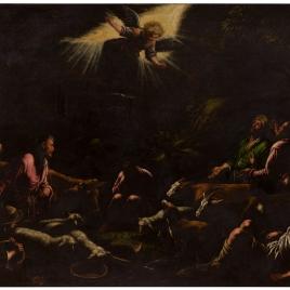 Los ángeles anunciando a los pastores el Nacimiento de Jesús