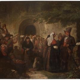 La salida de misa, en una aldea de las cercanías de Santiago de Galicia
