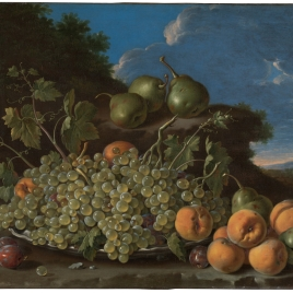 Still Life with Plate of Grapes, Peaches, Pears and Prunes in a Landscape