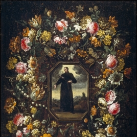 Garland of Flowers with Saint Camillus de Lellis