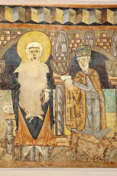 Adoración de un Rey Mago. Pintura mural de la ermita de la Vera Cruz de Maderuelo