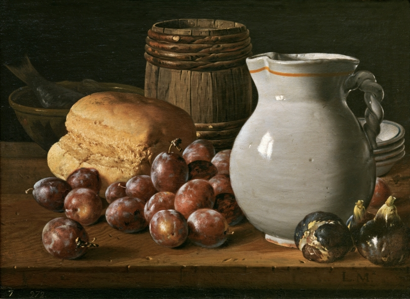 Bodegón con ciruelas, brevas, pan, barrilete, jarra y otros recipientes
