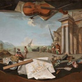 Landscape surrounded by trompe-l'oeil Symbols of the Arts