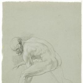 Estudio de desnudo masculino agachado