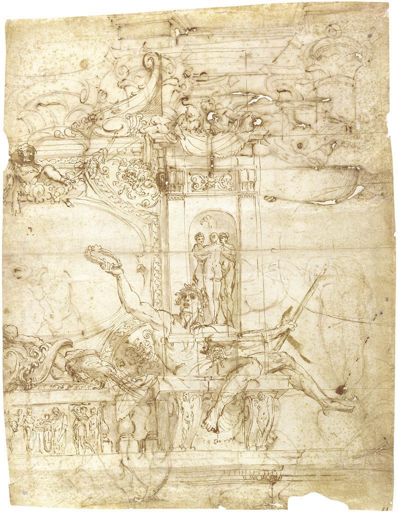 Proyecto de decoración mural (Galería Farnesio) / Estudios de putti, de pedestales de la Antigüedad y de una columnata ficticia [Annibale Carracci]