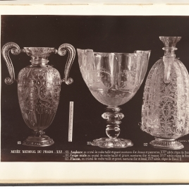 Rock crystal vase with scroll-shaped handles and a decoration of roses, cup with the Four Seasons, bottle with two mouths and rings