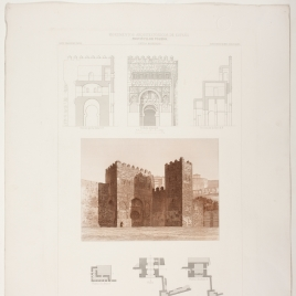 Planta, sección y fachada de la puerta antigua de Bisagra en Toledo