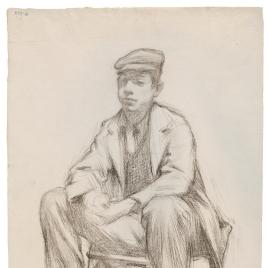 Apunte de un joven sentado