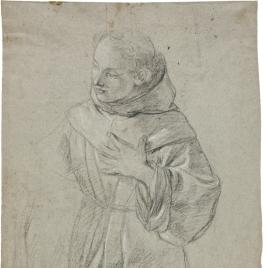 Santo Monje en oración (¿San Antonio?) / Calavera sobre paño, estudio de mano y Susana y los viejos