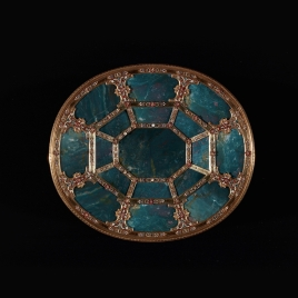 Heliotrope oval platter with octagonal tracery