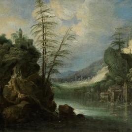 Paisaje peñascoso con río y molino