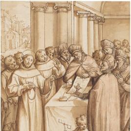 Escena de la vida de un santo franciscano