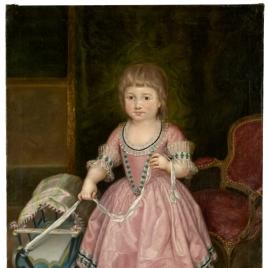 La infanta María Isabel de Borbón, niña, con carrito de juguete