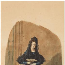 Señora sentada con mantilla