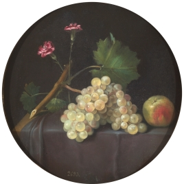 Uvas, manzana y claveles
