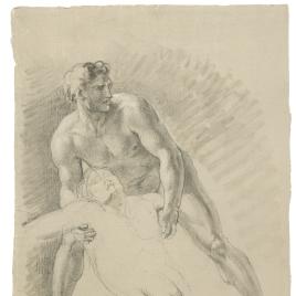 Estudio de desnudo masculino cogiendo a ottra figura tendida. Estudio de brazo izquierdo