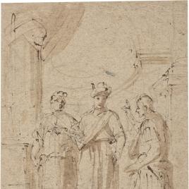 Tres figuras masculinas, en pie / Un Papa recibiendo a un caballero