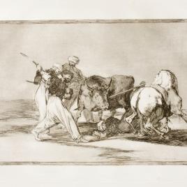 Los moros establecidos en España, prescindiendo de las supersticiones de su Alcorán, adoptaron esta caza y arte, y lancean un toro en el campo