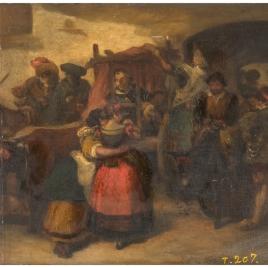 Don Quijote en el carro, saliendo de la venta