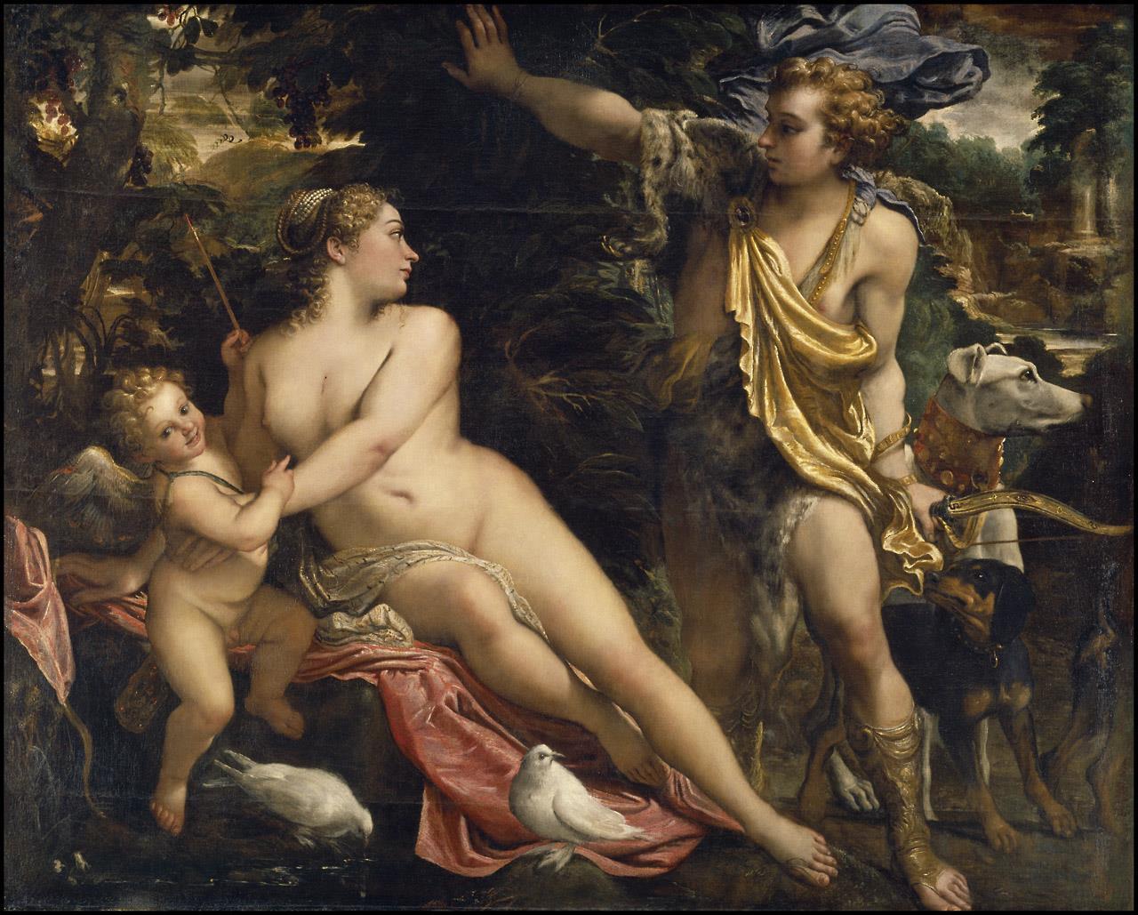 Venus, Adonis y Cupido [Annibale Carracci]