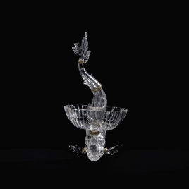 Rock crystal salt cellar in the form of a dolphin