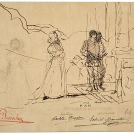 Hamlet y Ofelia / Ofelia y otras figuras, en un paisaje