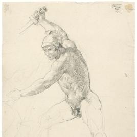 Estudio de guerrero desnudo empuñando una espada