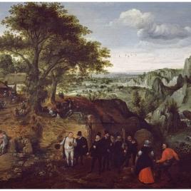 Autorretrato con Georg Hoefnagel y Abraham Ortelius en una fiesta campesina