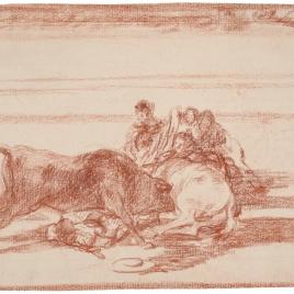 Caída de un picador de su caballo debajo del toro