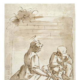 The Holy Family seated outside in front of a garden wall