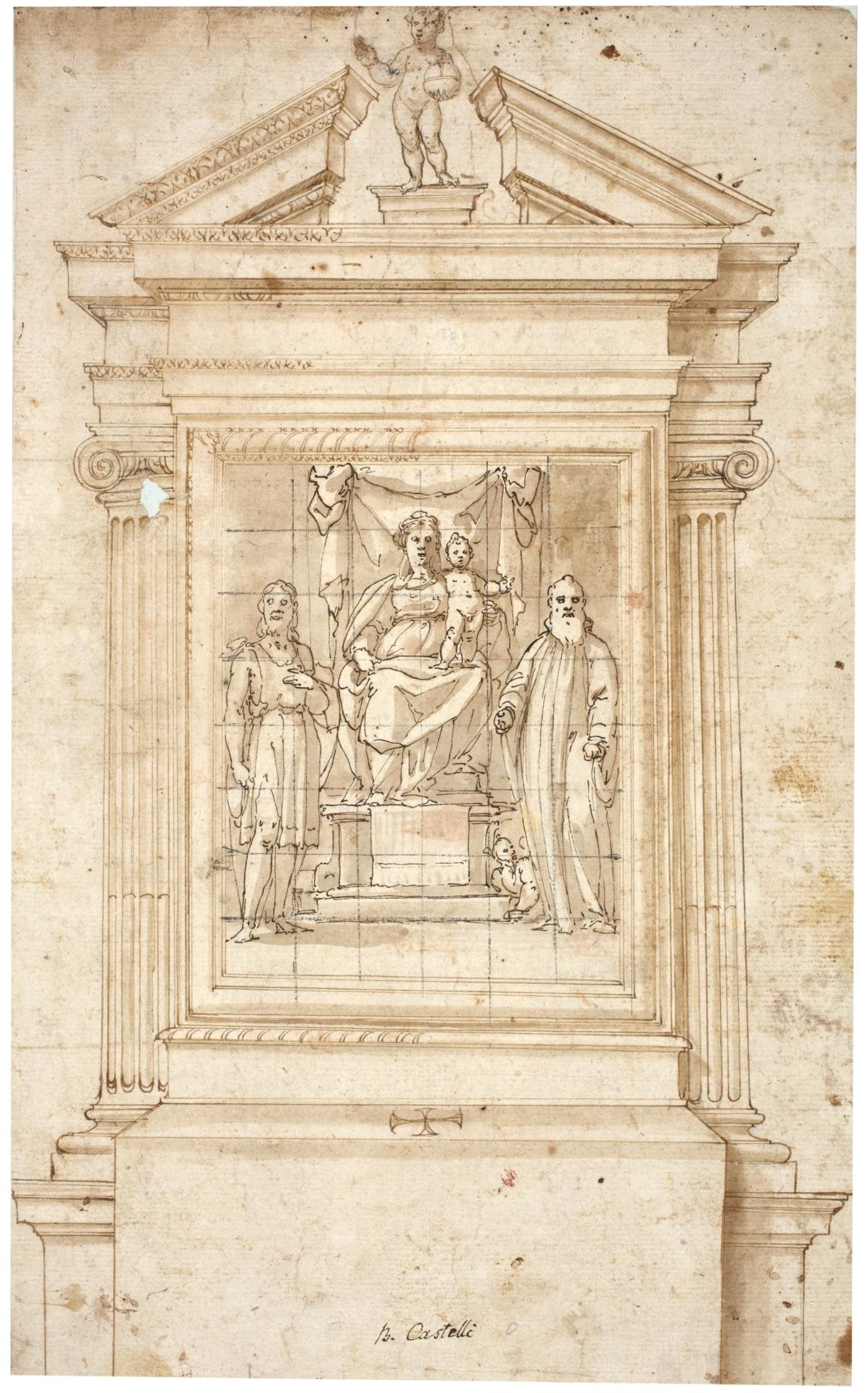 Diseño para un altar, con la Virgen y el Niño entronizados entre San ...