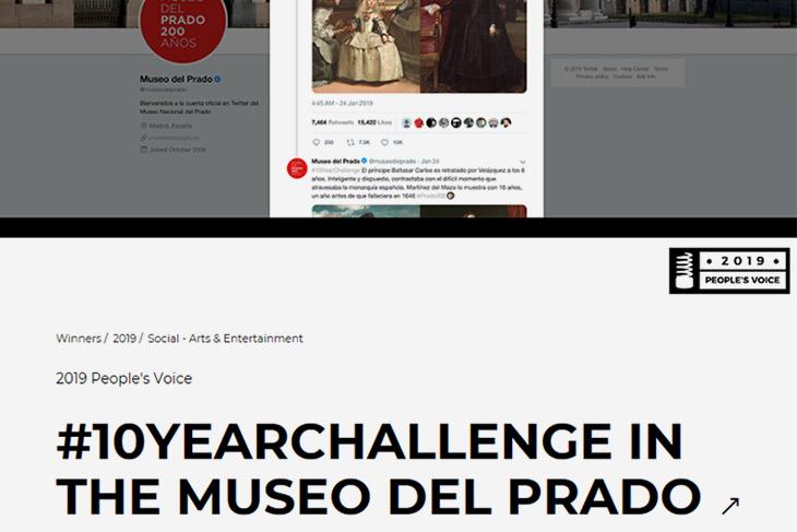 El #10yearchallenge del Museo del Prado gana el prestigioso premio Webby