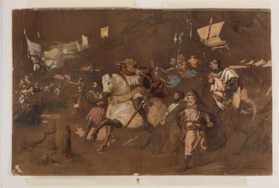 Carlos de Anjou contemplando en la playa de Nápoles el incendio de sus naves por Roger de Lauria