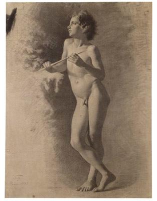 Desnudo infantil con flauta