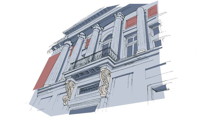 Columnas y balcón